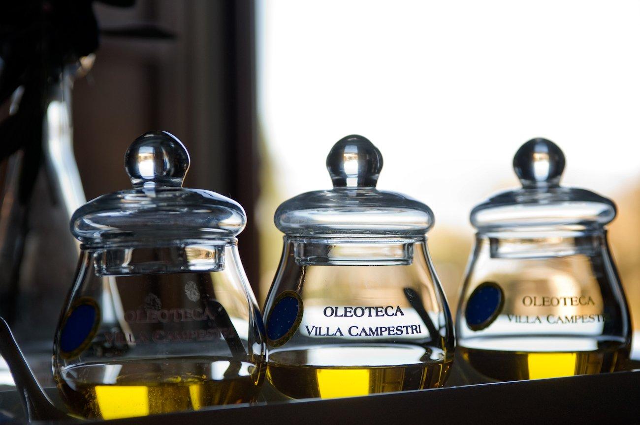 clear tasting glasses at Villa Campestri