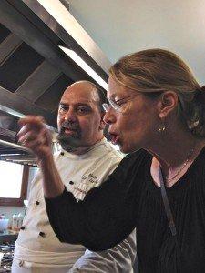 Tasting under Chef Jerry's watchful eye