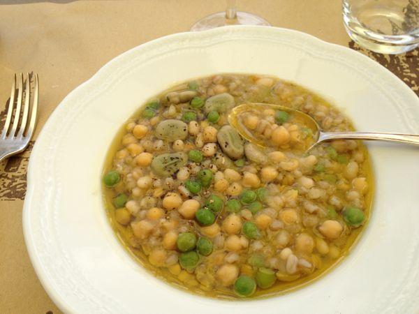 Zuppa delle virtu--farro, chickpeas, fagioli del purgatorio + fresh fave & piselli