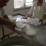 Ricotta set to drain briefly before it gets scooped up by eager tasters