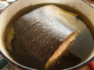 Salmon in oil, just taken from the oven