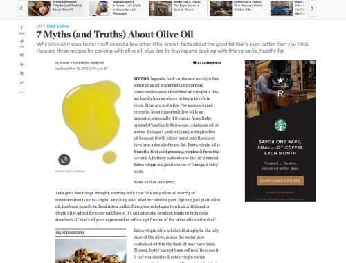 Wall Street Journal Article Olive Oil