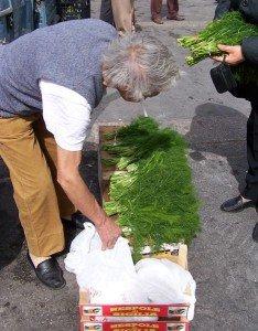 Trapani market, wild fennel vendor