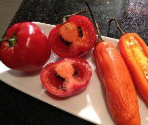Fresh peppers for roasting